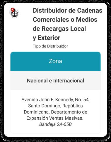 Distribuidor de Cadenas Comerciales o Medios de Recargas Local y Exterior puntos de entrega